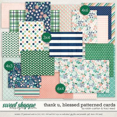 Thank U, Blessed Patterned Cards by Robin Carlton & Traci Reed
