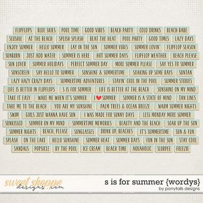 S is for Summer Wordys by Ponytails