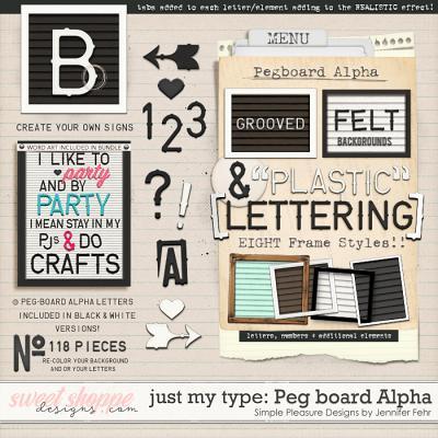 Just my Type Peg-Board Alpha:  Simple Pleasure Designs by Jennifer Fehr