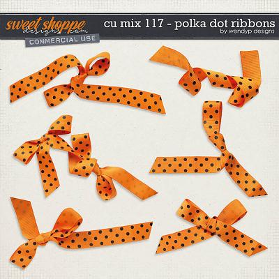 CU Mix 117 - Orange polkadot ribbons by WendyP Designs
