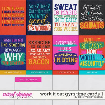 Work it Out Gym Time Cards 1 by Clever Monkey Graphics