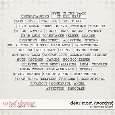 Dear Mom Wordys by Ponytails