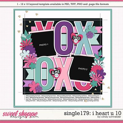 Cindy's Layered Templates - Single 179: I Heart U 10 by Cindy Schneider