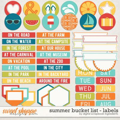 Summer Bucket List | Labels and Word Art by Digital Scrapbook Ingredients