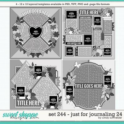 Cindy's Layered Templates - Set 244: Just for Journaling 24 by Cindy Schneider