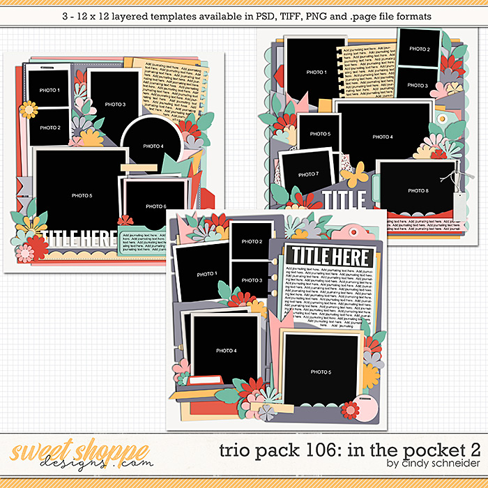 Cindy's Layered Templates - Trio Pack 106: In the Pocket 2 by Cindy Schneider